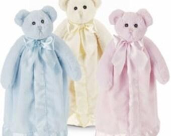 Personalized  Teddy Bear Baby Security Blanket - Bearington Snuggler