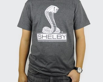 Shelby Cobra T-Shirt Black or Heather Charcoal Retro Car Auto Logo