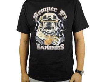 United States Marine Corps T-Shirt Bulldog Black Semper Fi