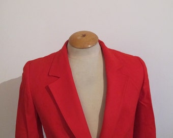 Vintage Pendleton Petite Red Wool Blazer Jacket, Ladies S