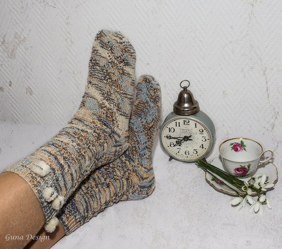 Knitted Socks in Lace Design with Pompoms and Beads