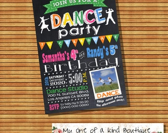 Dance birthday party invitation dancing party sibling combined party chalkboard photo invite digital printable 13400