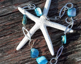 Aqua shell necklace with chain link