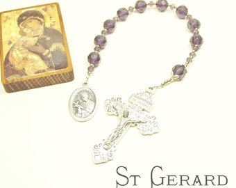 ST GERARD Pregnant Mothers, Expectant Mothers or Fertility Prayers CHAPLET with Amethyst Faceted Crystals and St Gerard Medal
