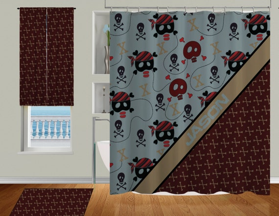 Items similar to bathroom shower curtains skulls shower for Boys curtain material