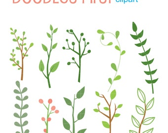 Foliage Set Digital Clip Art for Scrapbooking Card Making Cupcake Toppers Paper Crafts