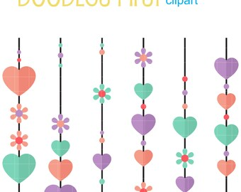 Heart Strings Clip Art for Scrapbooking Card Making Cupcake Toppers Paper Crafts