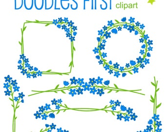 Forget-Me-Not Corners and Borders Digital Clip Art for Scrapbooking Card Making Cupcake Toppers Paper Crafts