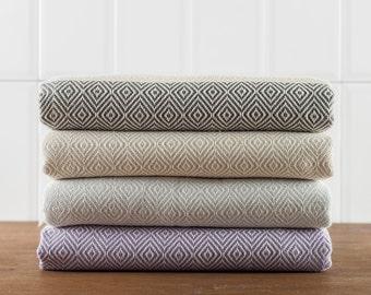Diamond Towel, Bath Towel, Turkish Towel, Peshtemal, Hammam Towel, Dark Gray, Beige, Gray, Lavender