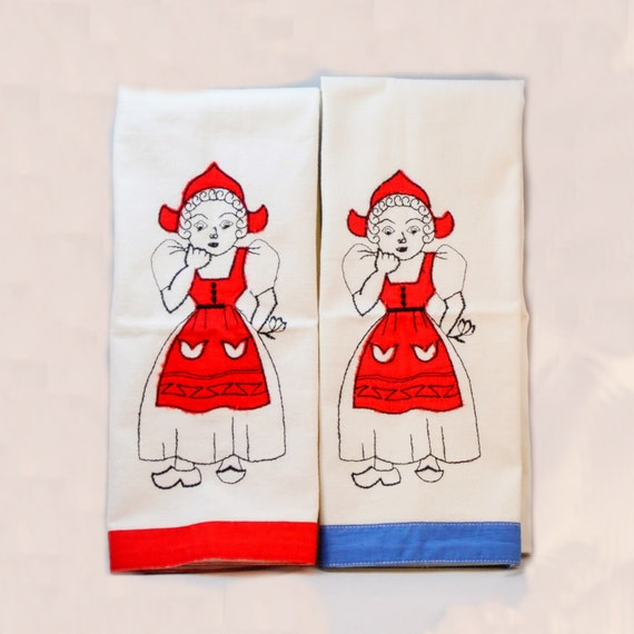 Linen Tea Towels Embroidered Dutch Girls By