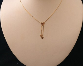 Tri Heart 14K Solid Gold Necklace