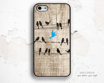 iPhone 6 Case Birds on Wire iPhone 6s Case - iPhone 5s Case Wood Print iPhone Galaxy S Case, iPhone 6s Plus Case Birds Phone Case :0380