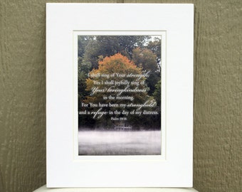 Christian Wall Art - Psalm 59:16 - Fall Photography - Scripture Art, Christian Gifts, Bible verse art, Religious art, Christian home decor
