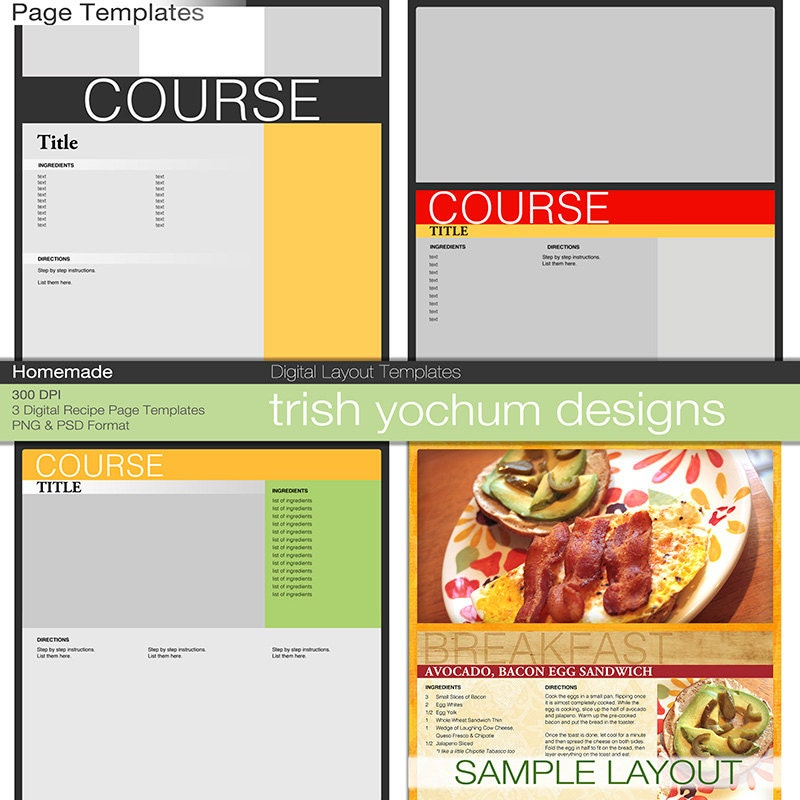 Recipe Page Templates Cookbook Template Pages Photoshop Psd