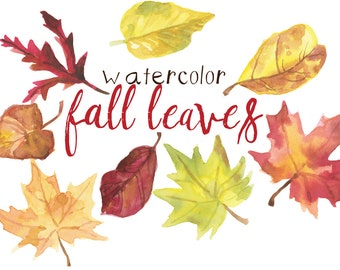 Watercolor Fall Leaves Clip Art