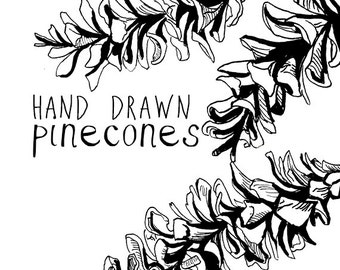 Hand Drawn Pinecone Clip Art For Scrapbooking Vintage Style Pine Cone Instant Download Fall Clipart Autumn