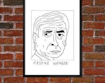 Badly Drawn Arsene Wenger - Arsenal FC Football Poster
