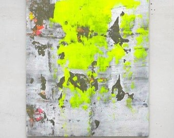 Abstract painting neon yellow grey gray concrete white canvas art contemporary canvas painting minimalist art modern painting