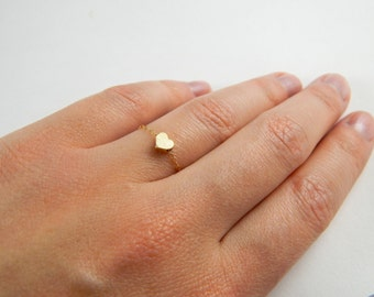 Dainty gold stackable brushed heart chain ring, love brushed heart ring, love inspired jewelry, little small tiny heart charm ring, 057