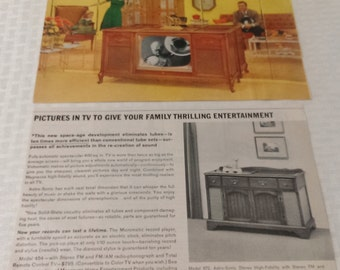 Stereo TV Ad Advertising, Magazine Ads Vintage Retro Wall Decor MAGNAVOX TV & Stereo Hi-Fi Holiday Magazine 1964