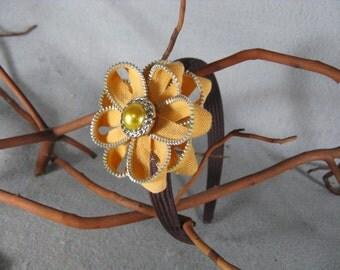 Peach Flower Headband - Zipper Flower - Zipper Headband - Upcycled - Recycled - Repurposed - Girls Headband -Womens Headband -Baby Headband