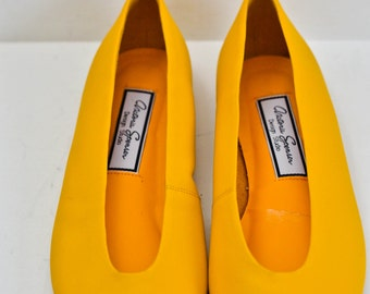 SALE Yellow Leather Ballet Flats Size 8