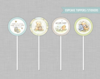 Classic Pooh Baby Shower Cupcake Toppers INSTANT DOWNLOAD