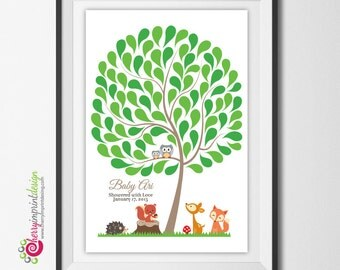 Printable Woodland Baby Shower/First Birthday Guest Book Tree Signature - Mom and Baby Owl, Hedgehog, Fox, Deer, Squirrel - DIY