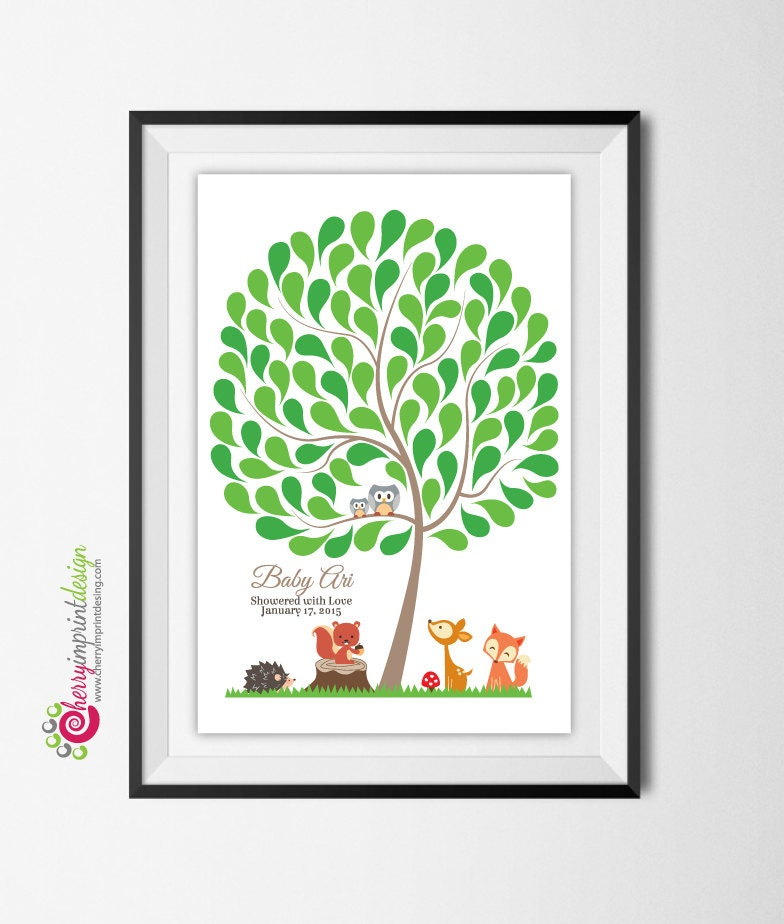 Printable Woodland Baby Shower/First Birthday Guest Book Tree