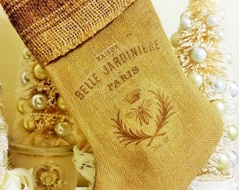 French Rustic Stocking, French Bee Christmas Stocking, French Grain Christmas Stocking