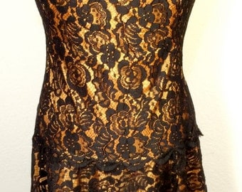 FREE   SHIPPING   1950's Overlay Lace Dress