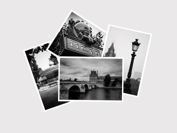 Four 4x6 Postcards, Paris Postcard Set ,Paris Photography, Black and White Wall Art, Parisian Decor, Affordable Art