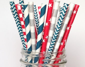 4th of July Paper Straws, Patriotic Straws, Red, White and Blue Straws, Americana Straws, Military and Veterans Party