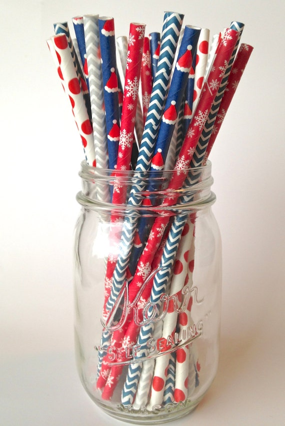 Santa Claus in the Snow Paper Party Straws, 25 ct. Kids Christmas Straws for holiday party decor, Christmas supply, red blue straw decor