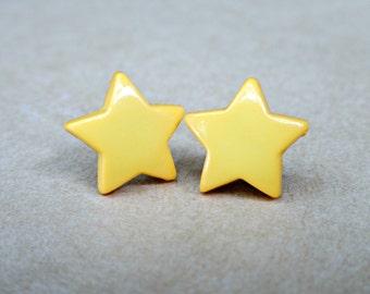 Yellow Star Post Earrings, Star Stud Earrings, Yellow Stud Earrings, Yellow Star Button Earrings, Plastic Star Earrings, Star Button Earring