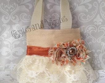 Autumn Ivory Lace Flower Girl Purse, Flower Girl Gift, Birthday Gift