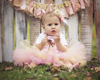 1st Birthday Tutu, Light Pink and Gold Tutu, Princess Tutu, Star Tutu