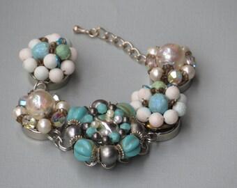 "Aqua Vintage Earrings Repurposed Bracelet Named ""Dianna"""