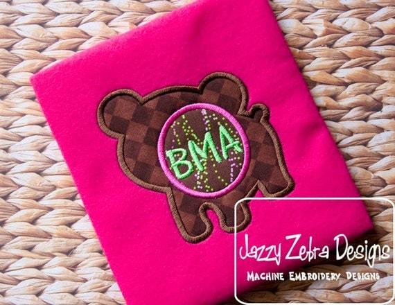 Bear Silhouette Monogram Applique embroidery Design - bear Appliqué Design - monogram frame Applique Design
