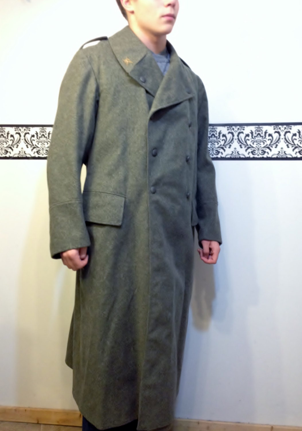 1940's WWII Swedish Military Full Length Wool Coat Size