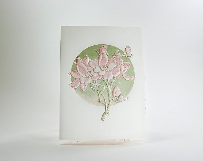 Letterpress Flower Card. Apple Blossom. Embossed card. Single card. Blank inside.