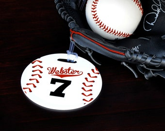 Baseball Bag Tag, Personalized Baseball Bag Tag, Baseball Luggage Tag, Gifts for Baseball,Sports Bag, Custom Bag Tag,Personalized Gift,110BT