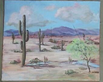 Old Vintage Original Landscape Oil Painting Desert Southwestern Western Cactus