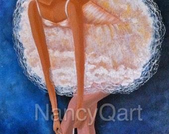 Ballerina painting,  ballet art, ballerina artwork,  original ballet painting, nancy quiaoit, NancyQart