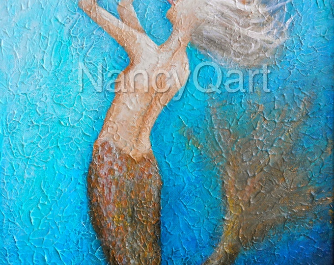 Mermaid art, colorful mermaid painting, Original mermaid canvas giclee print, Original art by Nancy Quiaoit at Nancys Fine Art.