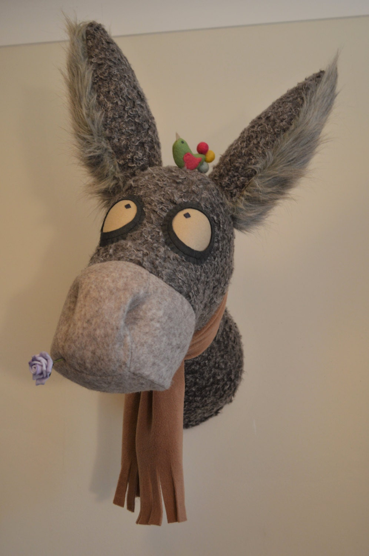 Faux animal head faux animal taxidermy faux donkey by knitwangling