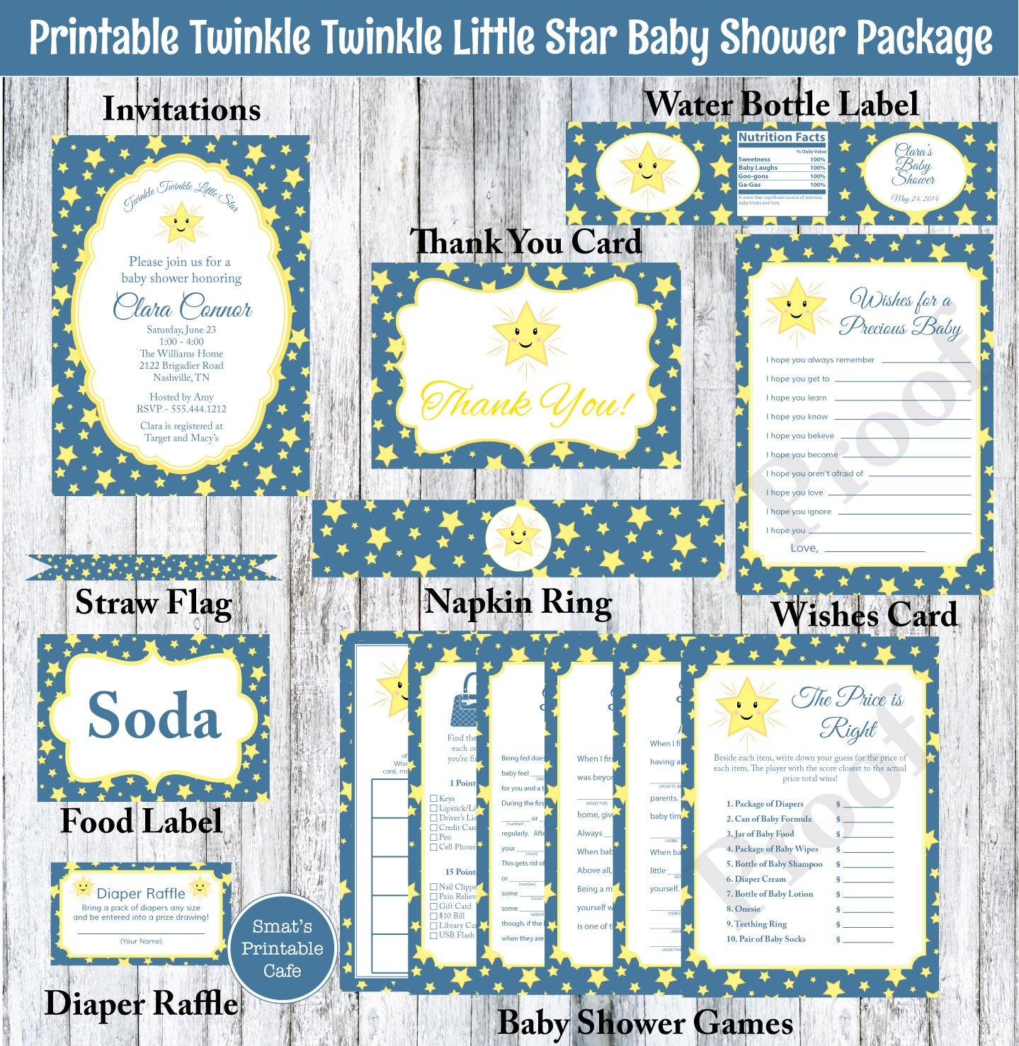 twinkle twinkle little star baby shower package printable