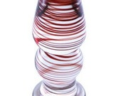 GlassToys Small Glass Plug, Clear with Red Swirls GD25
