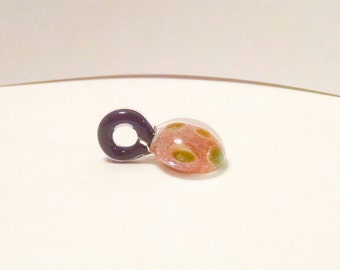 Pink, Green & Black Hand Blown Glass Necklace Pendant