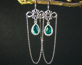 Goth Earrings Silver Chain earring Turquoise earring Long earring Dangle earring Silver plated earring | LES4